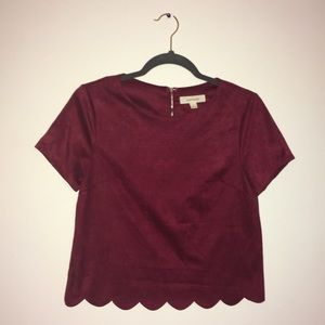 Faux Suede Scalloped Shirt (wine)